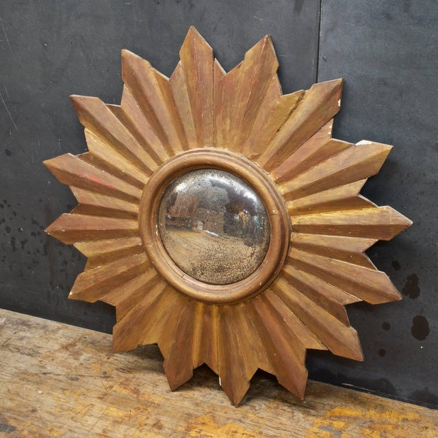 Mid-Century Modern Rustic Wooden Starburst Convex Wall Mirror Patina Hollywood Rococo Mid-Century For Sale - Image 3 of 6