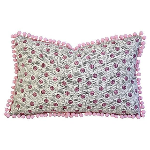 "18"" X 12"" Custom Tailored Pink Medallion Feather/Down Pillow W/ Pom-Pom Trim For Sale - Image 5 of 6"
