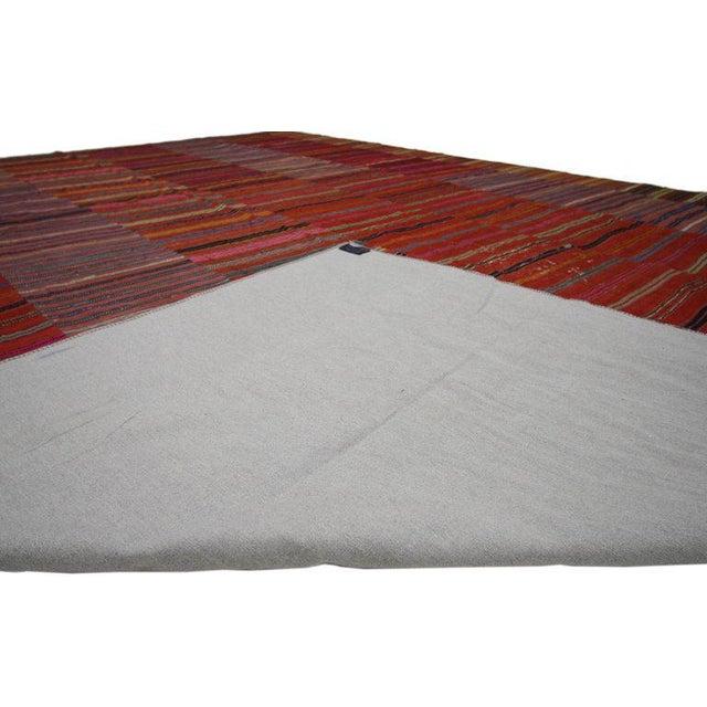 Vintage Turkish Kilim Flat-Weave Striped Rug - 9′7″ × 12′11″ For Sale - Image 4 of 6