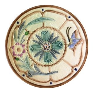 1880s Wasmuel Majolica Flowers and Butterfly Plate For Sale