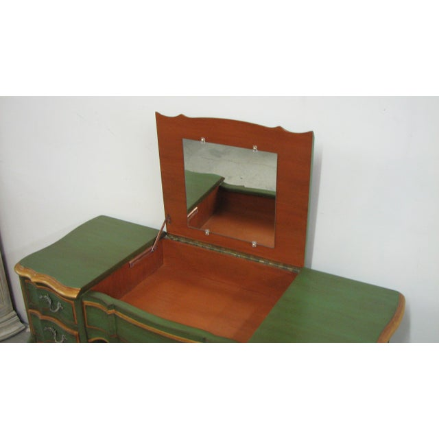 Vintage French-Style Vanity Painted Green & Gold For Sale - Image 9 of 12