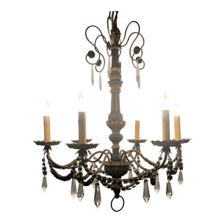 Estate Wood and Tole Chandelier, Circa 1930-1940. For Sale