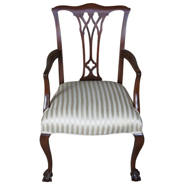 Chippendale Style Mahogany Dining Arm Chair, Ball & Claw Feet For Sale - Image 12 of 12