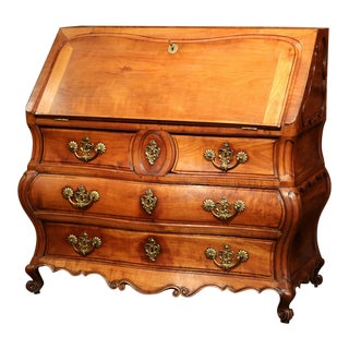 18th Century French Louis XV Bombe Cherry Desk Secretary Scriban from Bordeaux For Sale