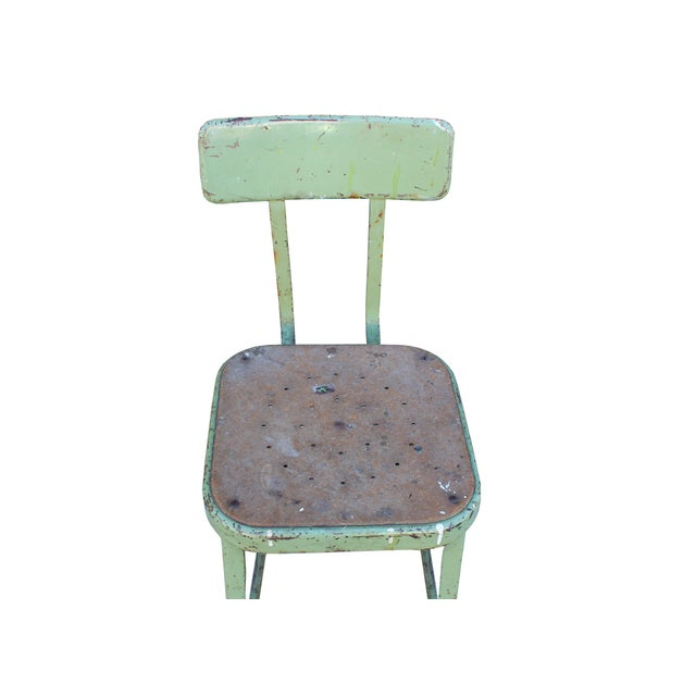 Vintage Industrial Green Stool - Image 4 of 4