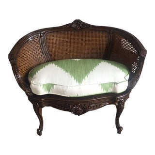 Vintage French Cane Settee With Aerin Lauder Cushion