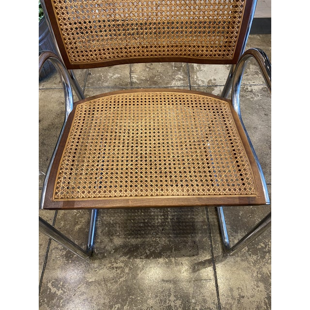 Metal Vintage Chrome and Cane Chairs - a Pair For Sale - Image 7 of 9