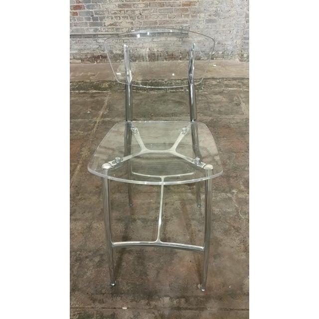 Designer Lucite & Polished Steel Bar Stools - Set of 3 For Sale - Image 4 of 10