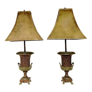 Italian Wood Carved Urn Lamps - A Pair For Sale