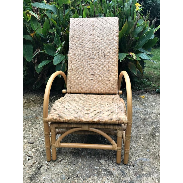 Vintage Rattan Bamboo Adjustable Chaise Lounge Chair For Sale - Image 4 of 10