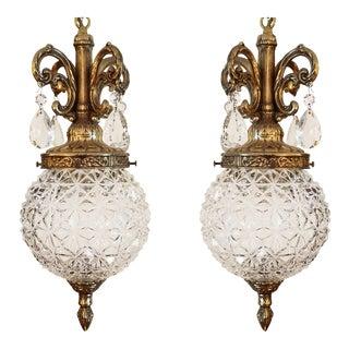 Hollywood Regency Glass Globe Swag Pendant Chandelier Pair