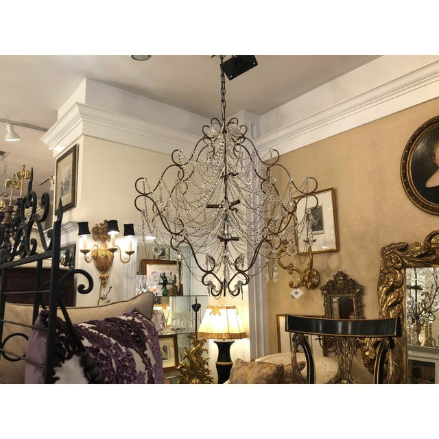French 9 Light French Beaded & Crystal Chandelier For Sale - Image 3 of 5