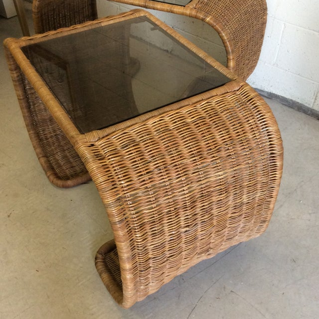 Vintage Wicker Glass Top Waterfall Side Tables - a Pair For Sale In Richmond - Image 6 of 11