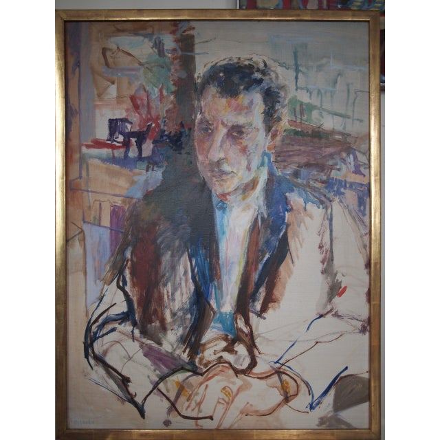 Blue Original Herbert Beerman Mid-Century Modern Abstract Man In Suit Portrait Oil / Masonite Board Painting For Sale - Image 8 of 9