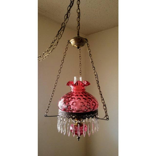Fenton Cranberry Coin Dot Gwtw Pendant Lamp For Sale - Image 11 of 11