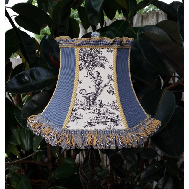 Black Toile Lampshade Blue Ticking Mustard Stripe Trim For Sale - Image 8 of 10
