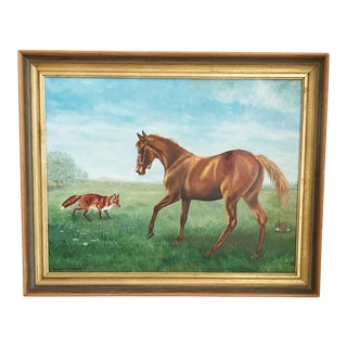 Vintage 1970s Horse Oil Painting For Sale