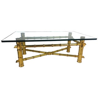 Hollywood Regency Gold Leaf Faux Bamboo Coffee Table For Sale