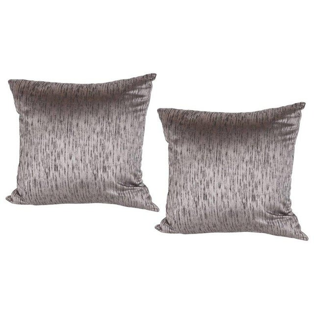Early 21st Century Pair of Modernist Pillows in Iridescent Lavender With Organic Black Patternation For Sale - Image 5 of 5