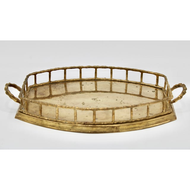 Brass Mid 20th Century Brass Bamboo Tray For Sale - Image 8 of 8