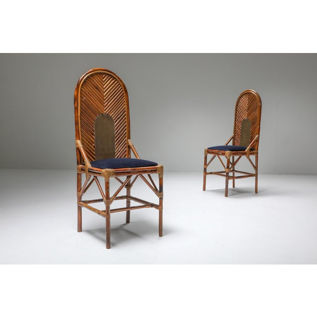 Vivai del Sud 1970s Vivai Del Sud Dining Chairs in Bamboo, Brass & Blue Velvet - Set of 8 For Sale - Image 4 of 13
