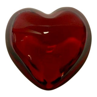 Ruby Red Baccarat Crystal Puffed Heart For Sale
