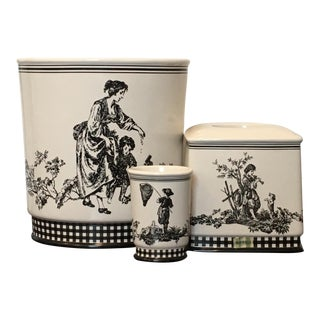 Waverly French Country Life Toile Porcelain Bathroom Containers - Set of 3 For Sale