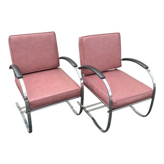 Pair of 1930s Bauhaus Modernist Wolfgang Hoffman for Howell Springer Chairs