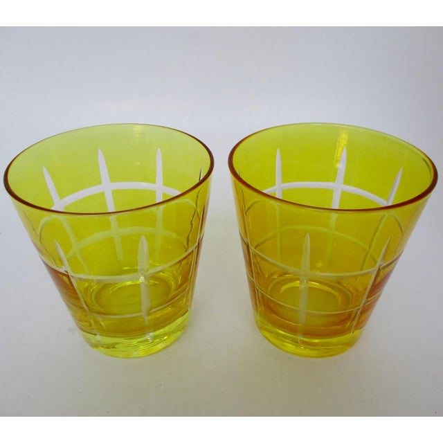 Mid-Century Modern Etched Double Old Fashioned Glasses - A Pair For Sale - Image 3 of 5