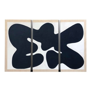 Black and White Oversized Abstract Triptych For Sale