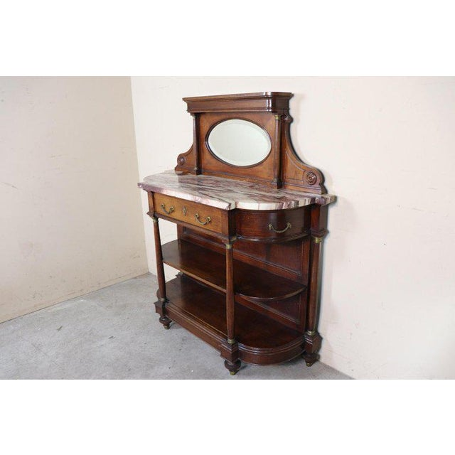 Rosewood 20th Century Italian Empire Style Oak Console Table With Columns and Marble Top For Sale - Image 7 of 12