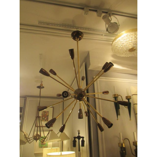 Custom Brass and Copper Sputnik Chandelier with 14 Arms For Sale In New York - Image 6 of 7