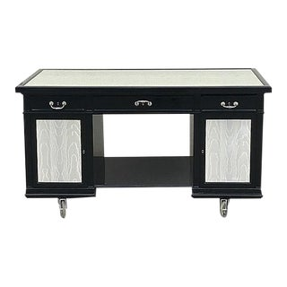 1960s Art Deco Black Lacquer and Moire Vinyl Moveable Bar For Sale