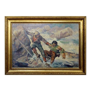 """19th Century """"Broken Jam"""" Wood Framed Oil Painting on Canvas by Oliver Kemp For Sale"""