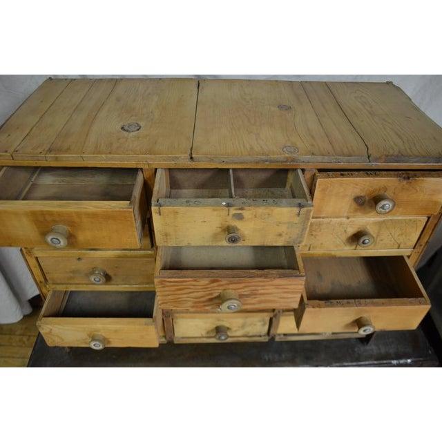 Vintage Handcrafted 15-Drawer Pine Storage Cabinet - Image 5 of 10