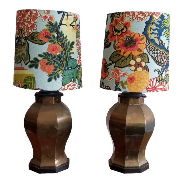 Vintage Brass Lamps With Custom Shade in Schumacher Chang Mia Fabric - a Pair For Sale