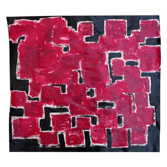 Alaina Bold Abstract Red Black Painting - Image 1 of 11