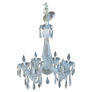 """Stamped """"Waterford"""" Six-Light Art Deco Style Crystal Chandelier For Sale"""
