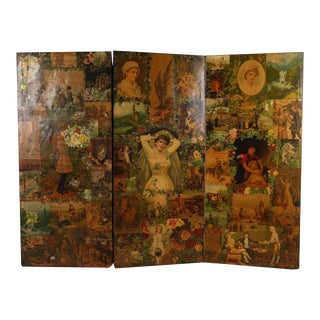 Antique Three Panel Decoupage Double Sided Room Divider Floor Screen For Sale