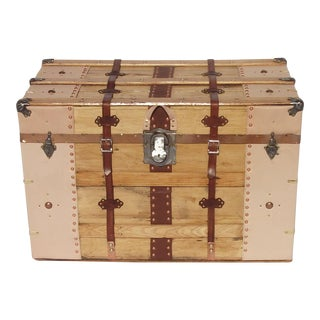 1900s Rustic Steamer Trunk With Leather Binding For Sale