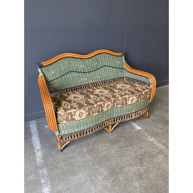 French Vintage French Grange Wicker Sofa and Coffee Table For Sale - Image 3 of 13