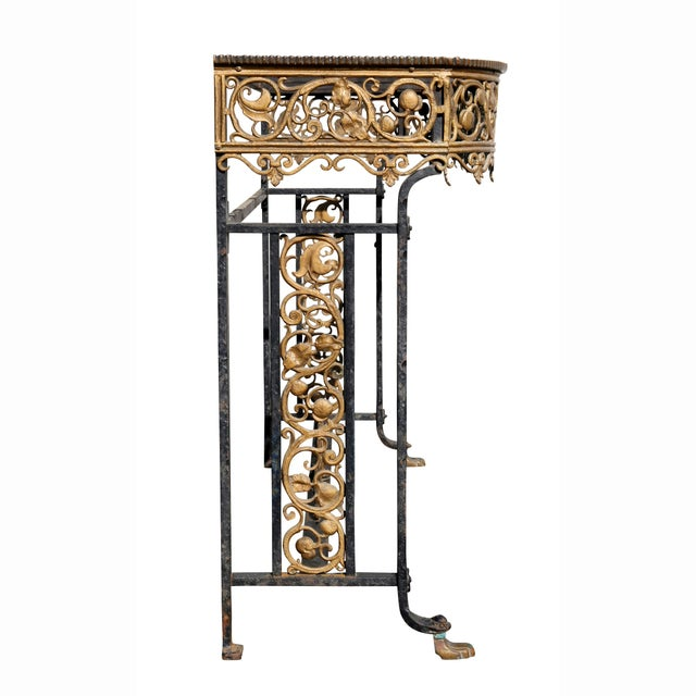 Black Oscar Bach Bronze and Wrought Iron Console Table For Sale - Image 8 of 10