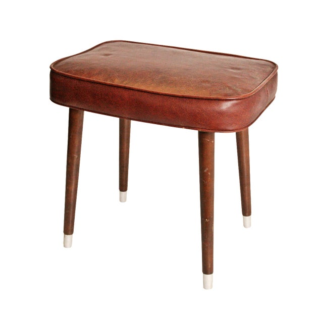 Mid-Century Brown Vinyl Foot Stool - Image 1 of 8