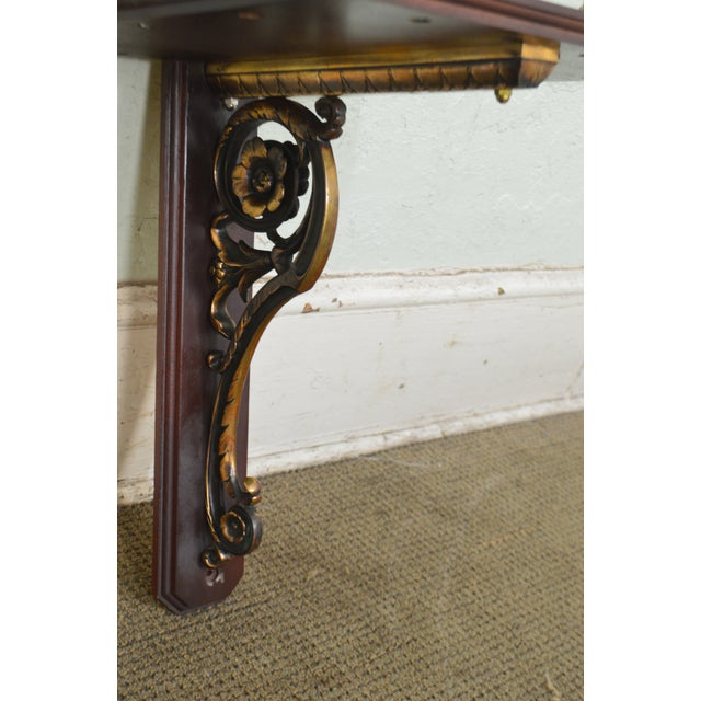 Brass Victorian Antique Pair of Aesthetic Bronze and Mahogany Wall Bracket Shelves For Sale - Image 7 of 13