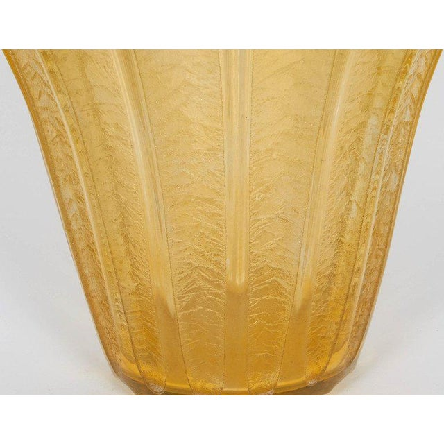 French Art Deco vase by Daum in Nancy in yellow acid cut clear and frosted glass, signed.