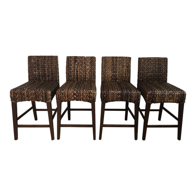 Modern Woven Seagrass Counter Stools- Set of 4 For Sale