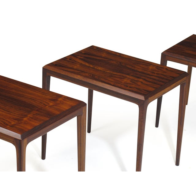 Rosewood Johannes Andersen for Cf Christensen of Silkeborg Nesting Tables For Sale - Image 9 of 11