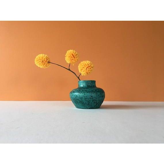 Vintage Chartreuse Green Stoneware Flower Vase For Sale - Image 4 of 6