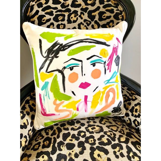 Abstract Abstract Face Painting Lela Pillow For Sale - Image 3 of 5
