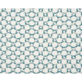 Hinson for the House of Scalamandre Island Trellis Fabric in Aqua For Sale